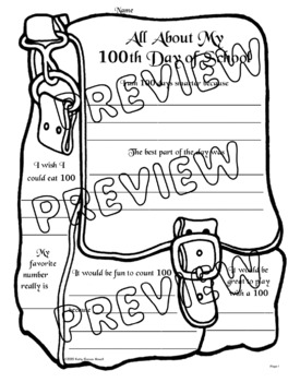 My 100th Day of School: Poster, Activity, Reading, Writing