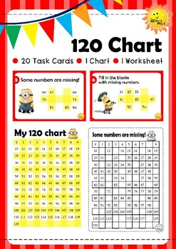 My 120 Chart (Starts from Zero), Task Cards and Worksheet. Minion Theme.