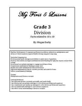 My 1st 5 Lessons: Grade 3 Division