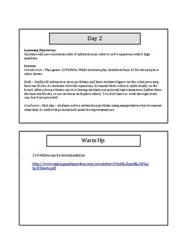 My 1st 5 Lessons: Grade 4 Subtraction
