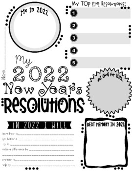 My 2020 New Year S Resolution Activity Poster Freebie By Valerie King Inspired