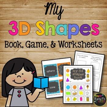 3D Shapes Book, Solid Shapes, Kindergarten, First, & Second Grade
