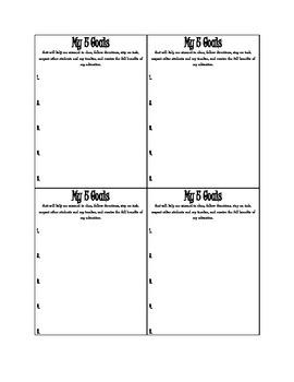 My 5 Goals - Classroom Management