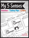 My 5 Senses Book & Activities - Thinking Maps - EDITABLE Flash Cards PRE-K TK K