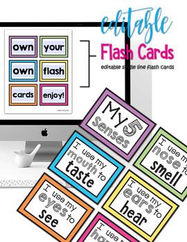 My 5 Senses Book & Activities - Thinking Maps - EDITABLE Flash Cards PRE-K TK K