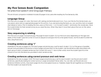 My Five Senses Book Companion Materials for Speech-Language Therapy