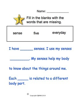 My 5 Senses - Fill in the blanks
