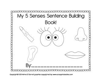 My 5 senses sentence building book cut paste write tpt for Five senses coloring pages