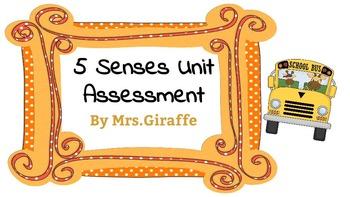 My 5 Senses Unit Assessment