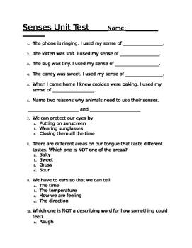 My 5 Senses Unit Test