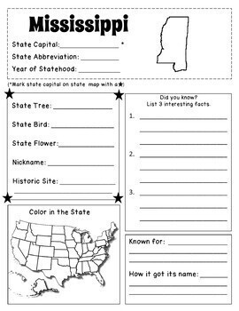 My 50 States Book - Fill-in Forms for each State