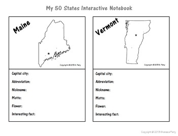 My 50 States Interactive Notebook