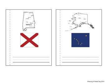 50 States and State Flags Mini Book