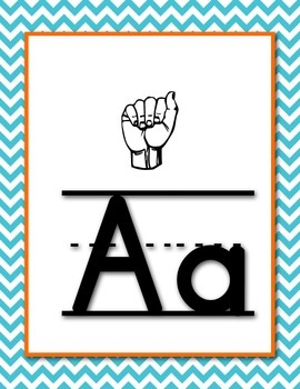 My ASL Classroom A-Z Picture and Word Wall Cards (White)