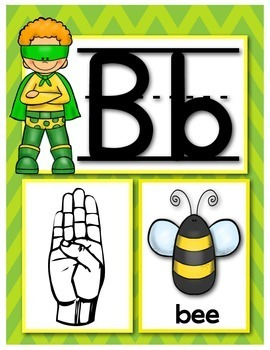 MyASL Superhero Alphabet Picture Cards with Signs