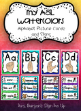 My ASL Watercolor  Alphabet Picture Cards and Signs