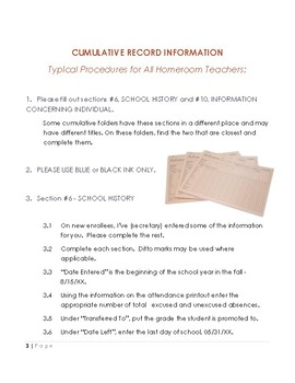 My Activities and Interests for Homeroom AND Cumulative Record File Procedures