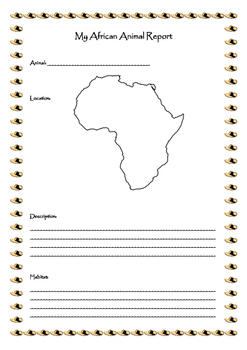 My African Animal Report