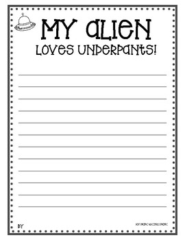 FREE My Alien Loves Underpants Writing Template and Stencils