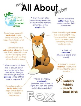 My All About Fox Book / Workbook - ( Forest / Woodland Animals )