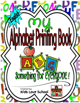 My Alphabet Printing Book-ENGLISH Version with Flashcards and Wordwall letters.