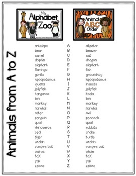 My Alphabet Zoo and Animal ABC Order Responsive Readers & Handwriting