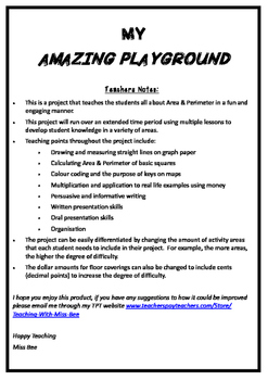 Area and Perimeter Project - My Amazing Playground