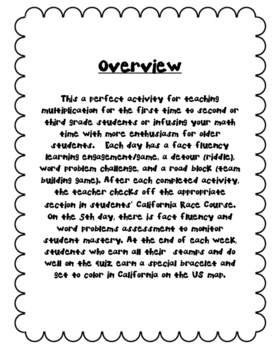 Math Amazing Race: California-3s Multiplication Facts,  Word Problems, and Games