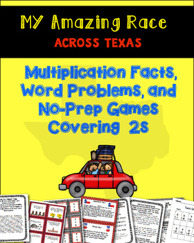 Math Amazing Race Across Texas-2s Multiplication Facts, Games & Word Problems