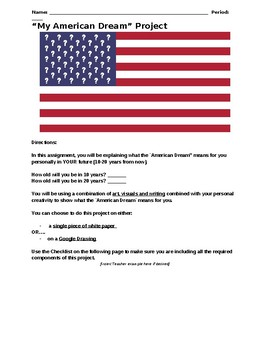 My American Dream One-Pager Project