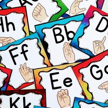 My American Sign Language Watercolor Classroom BUNDLE