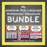 My American Sign Language Watercolor Classroom BUNDLE