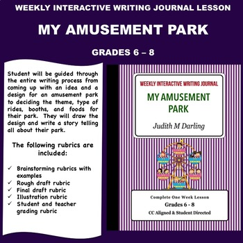 Interactive Weekly Writing Notebook Lesson - My Amusement Park - CC Aligned