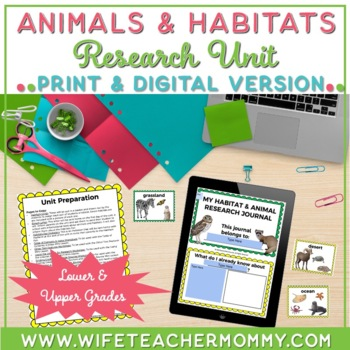 Animal and Habitat Explorer Research Unit & Journal. Informational text features