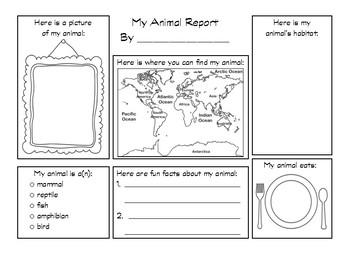 My Animal Report Graphic Organizer