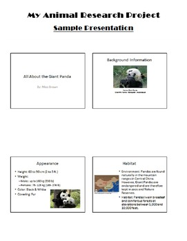 My Animal Research Project Packet