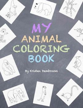 My Animals Coloring Book - 45 Hand Drawn Realistic Animals Art Fun Craft