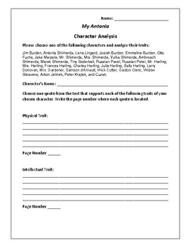 My Antonia - Character Analysis Activity - Willa Cather