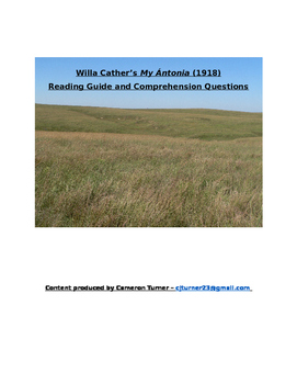Willa Cather - My Antonia Reading Questions - Common Core Aligned