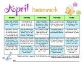 My April Homework Calendar