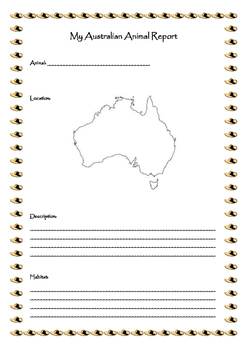 My Australian Animal Report