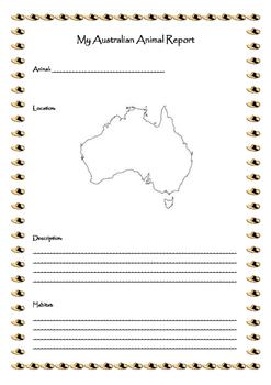 My Australian Animal Report