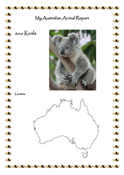 My Australian Animal Report with Pictures