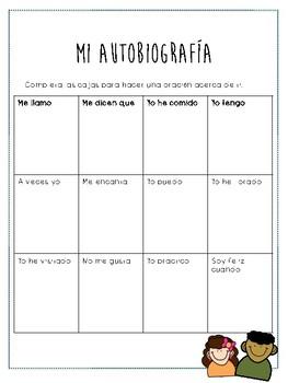 My Autobiography Spanish / Mi Autobiografía Escritura en español