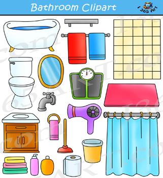 Delightful My Bathroom Clipart Set