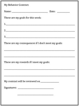 My Behavior Contract