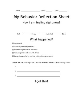 My Behavior Reflection Sheet