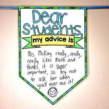 """My Advice to Next Year's Students"" Pennant end of year activity"