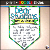 My Advice to Next Year's Students end of year activity w/ GOOGLE Slides