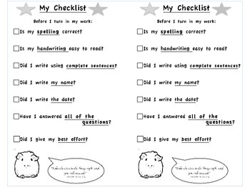 My Best Work Checklist